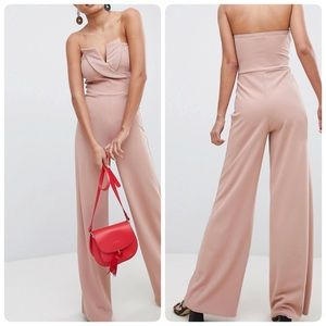 NWT! Mauve ASOS strapless widelegg jumpsuit